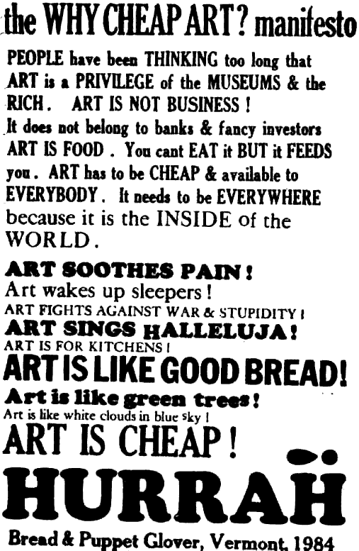 Cheap Art Manifesto